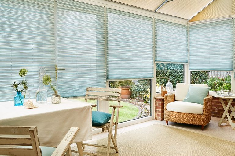 Estelle Vista pleated blinds in Conservatory