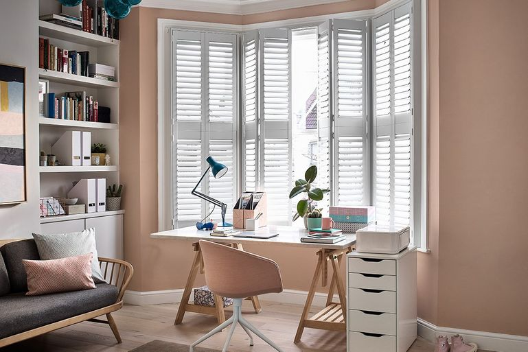 Richmond White Full Height Shutters Open in Home Office