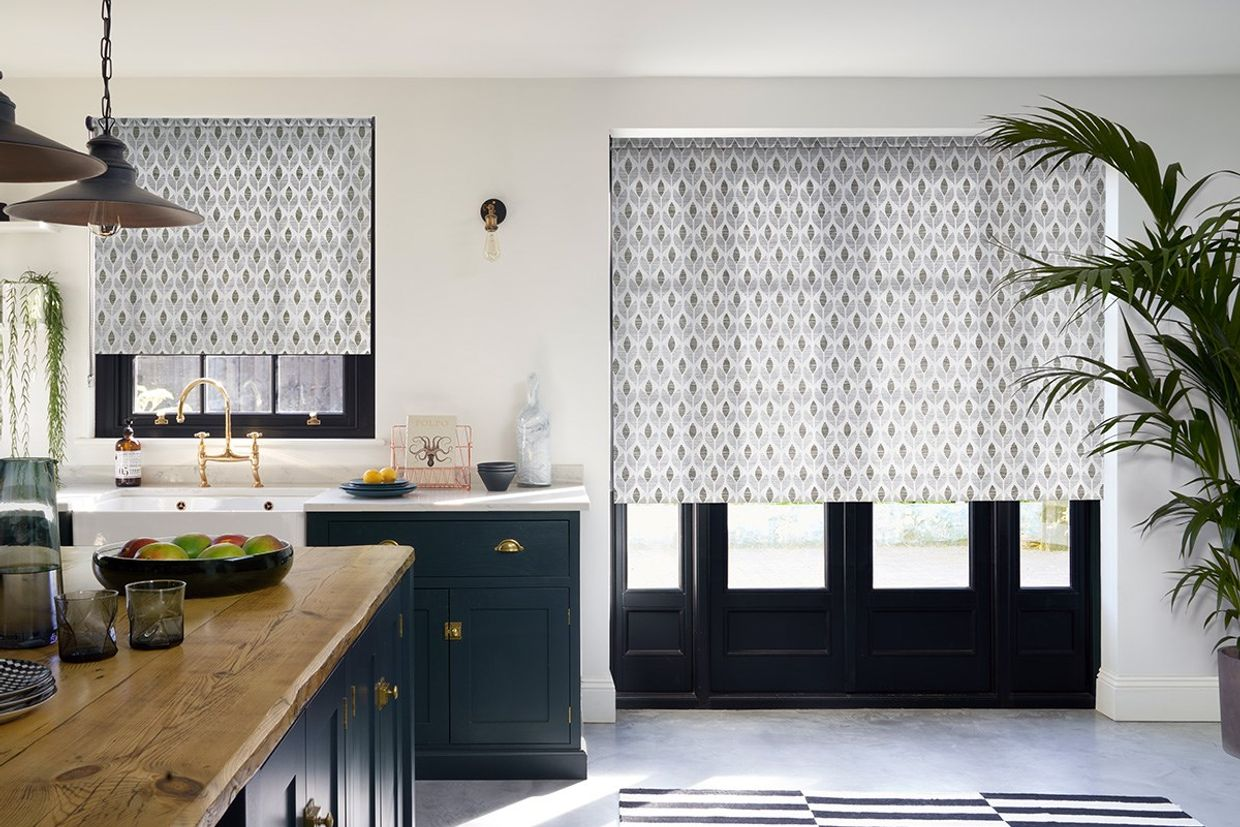 Petula Grey Roller blind in kitchen