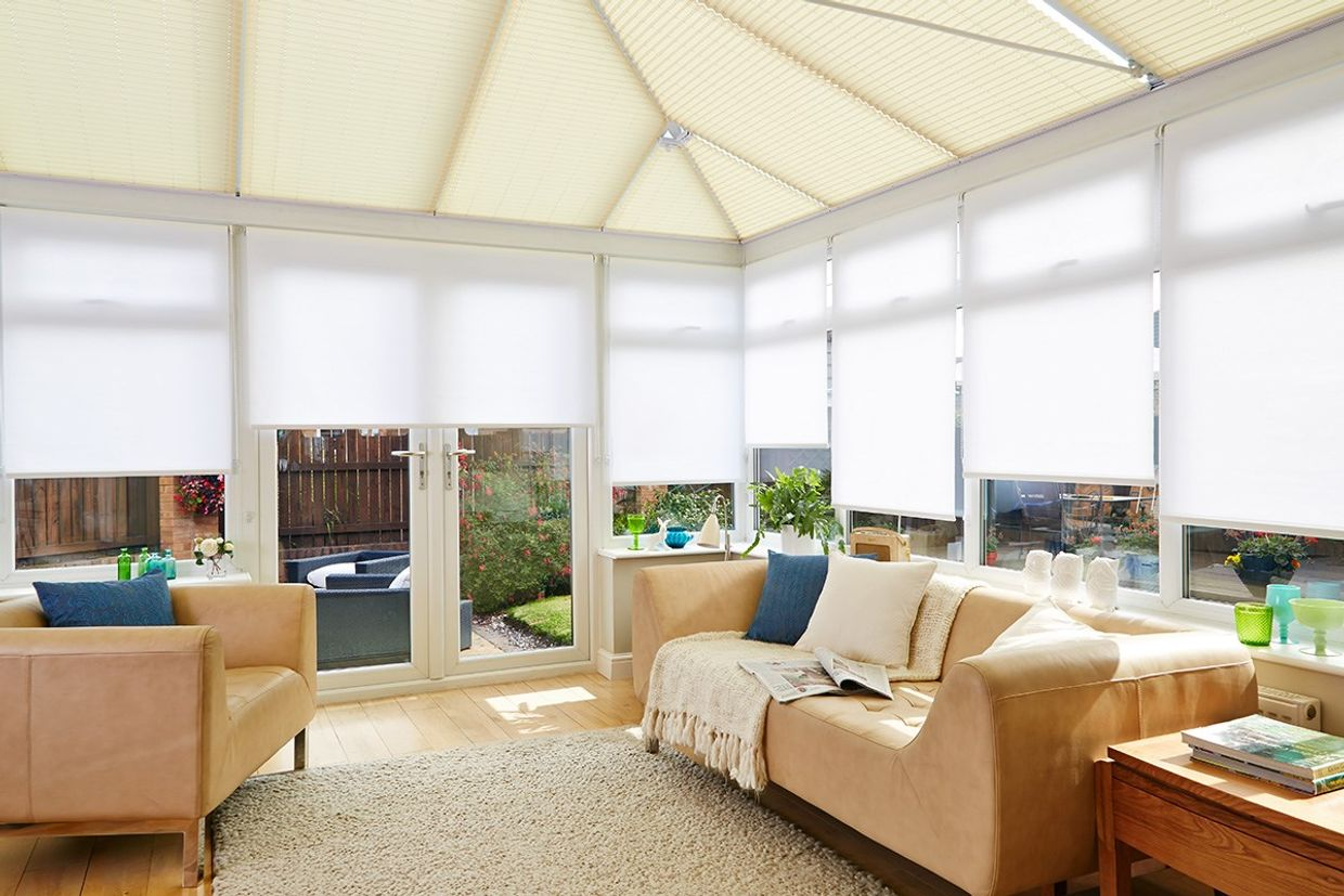 White and cream conservatory blind