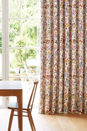 Ester Cranberry Multi Colour Print Curtains in Dining Room