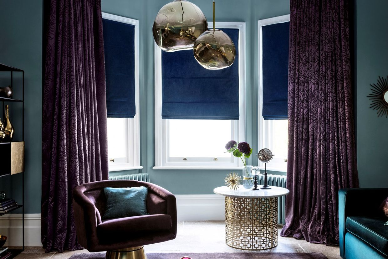 Broadleigh Aubergine Curtains paired with Radiance Midnight Roman Blinds