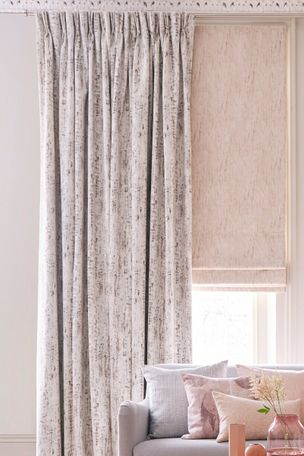 Mirage Pumice Curtains layered with Mineral Linen Roman Blinds in Living Room
