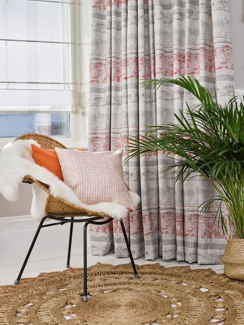 Fjord Coral Curtains with Ombre Natural Roman blinds in bedroom
