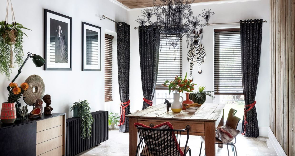 Beats Haze Curtain with Burnt Wood Venetian blind in dining room