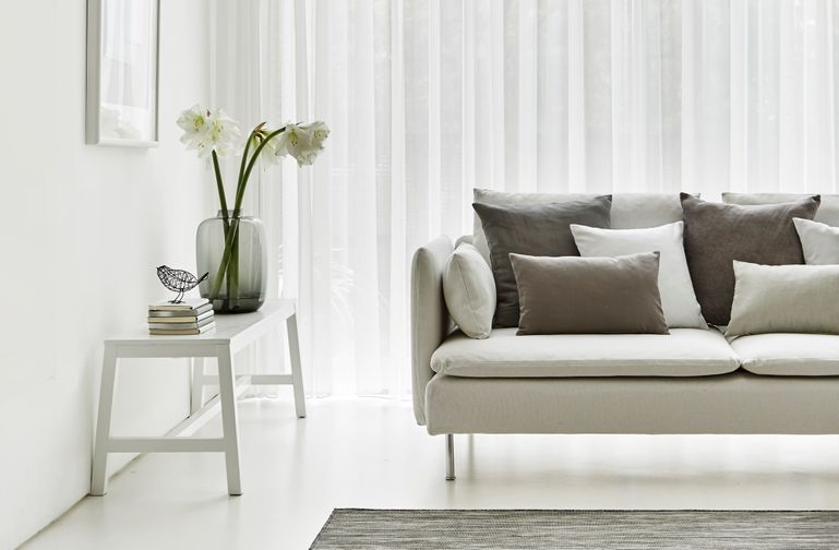 Minimalist Living Room with Neutral Decor and Voile Curtains in Crystal Ecru Fabric