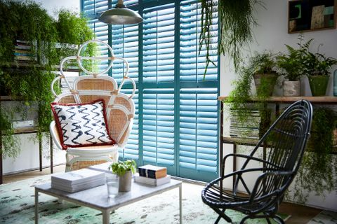 Custom colour shutters in living room