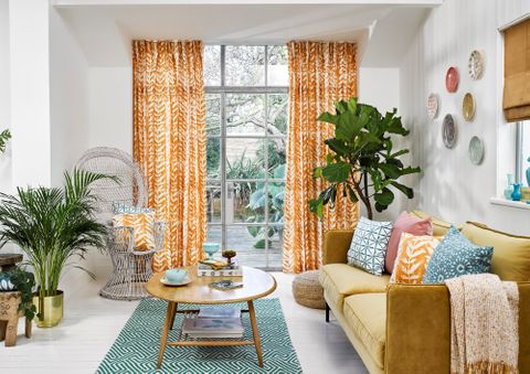 Isra Amber curtains in living room