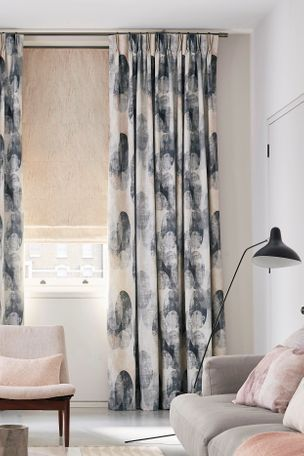 Living Room with Patterned Curtains in Reflection Shadow fabric