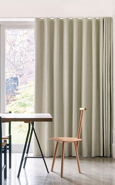 Minimalist Dining Area with Cream Wave Curtains in Echo Mist Fabric