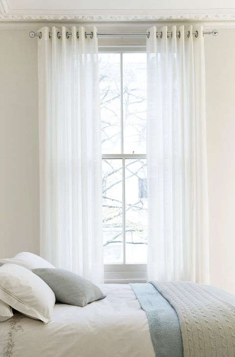 Plain White Bedroom with soft Voile Curtains in Lyria White Fabric