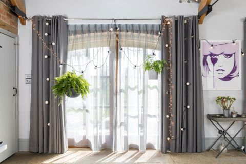 Jo Whiley's Interior Design with Voile Curtains in Wisp Grey