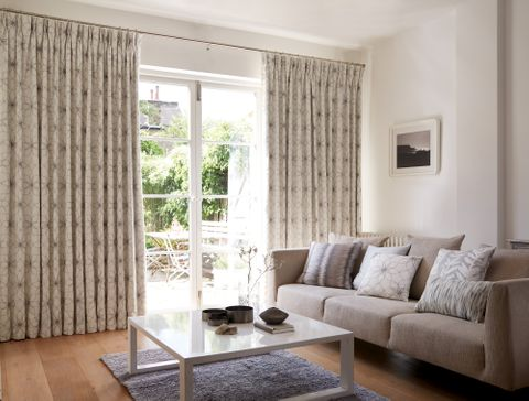 Neutral Living Room with Pinch Pleat Curtains in Lavida Grey Fabric