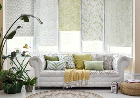 Roller blinds in a variety of different patterns fitted to tall rectangular windows in a living room that features potted plants and a white sofa