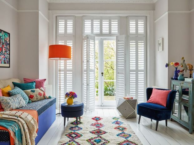 george clarke shutters colourful living room