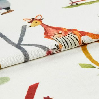 A roll of fabric that is decorated with the letters of the alphabet and animals that matching each word
