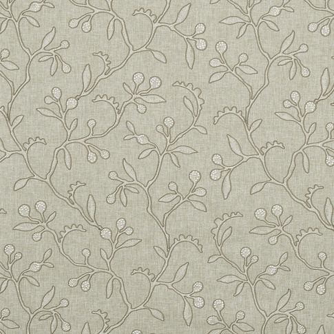Fabric swatch in a neutral colour while also featuring a repeating stem and leaf pattern