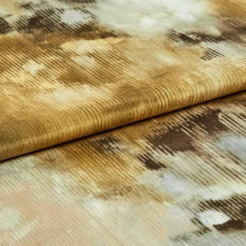 Aurora ember which features a watercolour style design in brown and neutral colours across the whole fabric