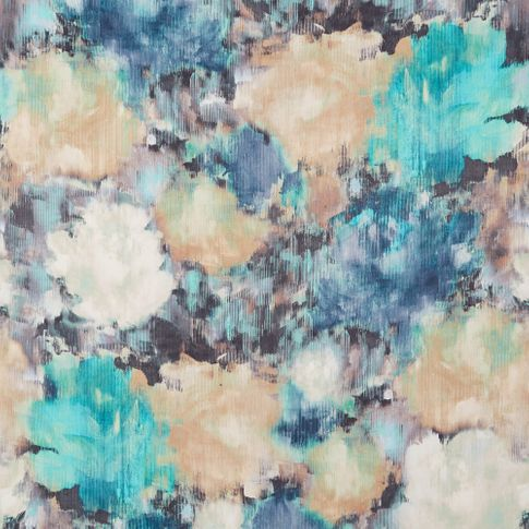 Aurora lagoon is a watercolour styled swatch with shades of teal, dark blue, black and white in a swirling oceanic style