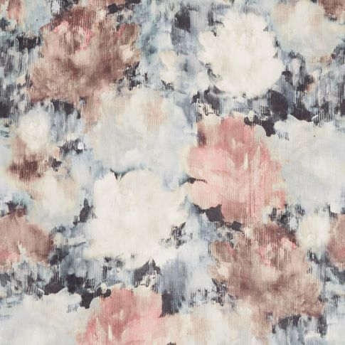 Aurora moonlight fabric swatch is decorated in a watercolour flower style in pink, black and white