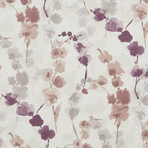 Claudia lilac fog swatch has a repeating floral pattern in purple, pink and grey