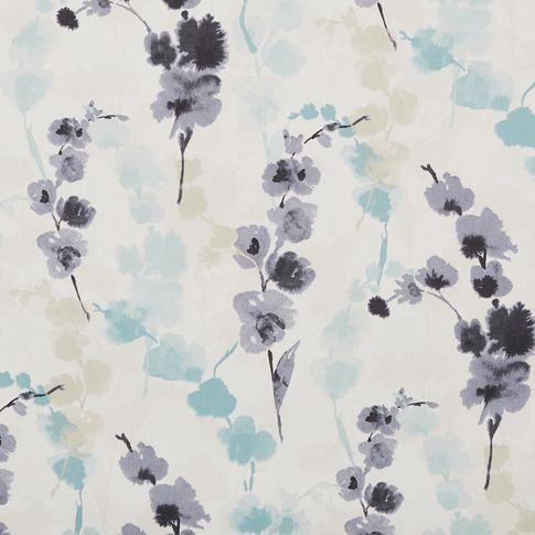 Claudia mist swatch has a floral pattern in black, grey, blue and beige on white fabric