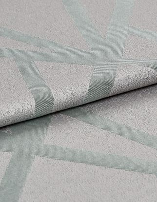 Silver coloured base fabric that is patterned with a repeating light blue geometric design