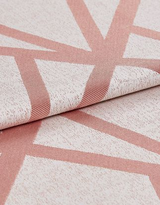 Dimension Rose Quartz swatch fabric is designed with blush coloured material with geometric lines of pink that repeat throughout the entire design
