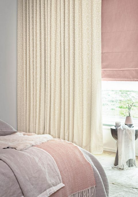 Alice Ivory curtains and Allure Bamboo Roman blinds in bedroom