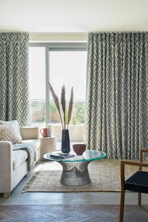 Alto indigo curtains in a living room