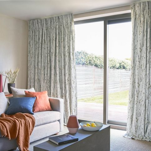 Amerlia Clay curtains on sliding doors in contemporary living room