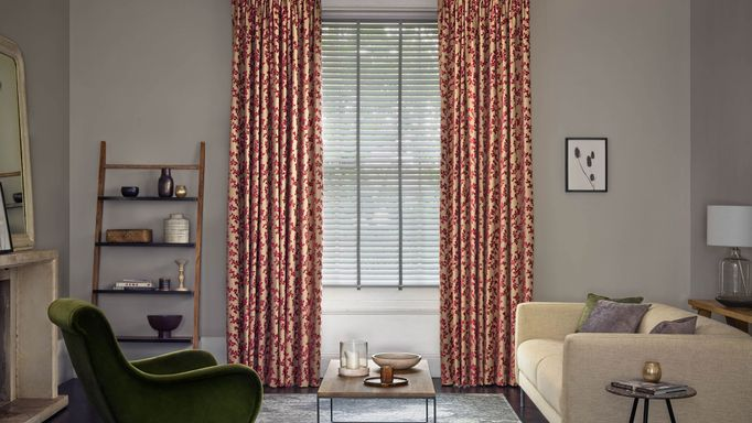 Aurella claret curtains lunaire faux wood blinds in living room