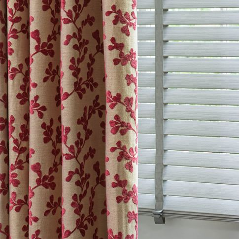Aurella Claret curtains Lumiere venetian blinds in living room