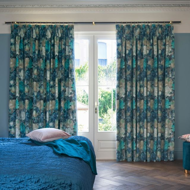 Aurora lagoon curtains in bedroom