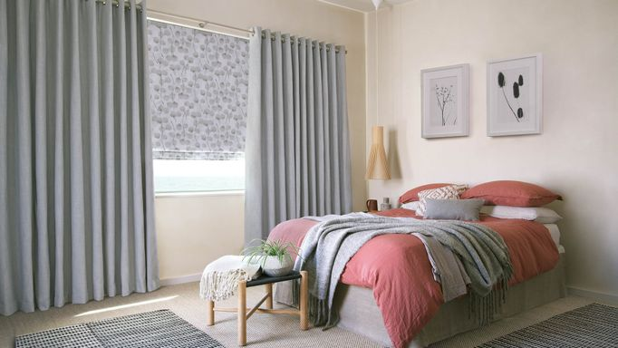 Bailey cloudy  curtains and honesty frost romans in bedroom