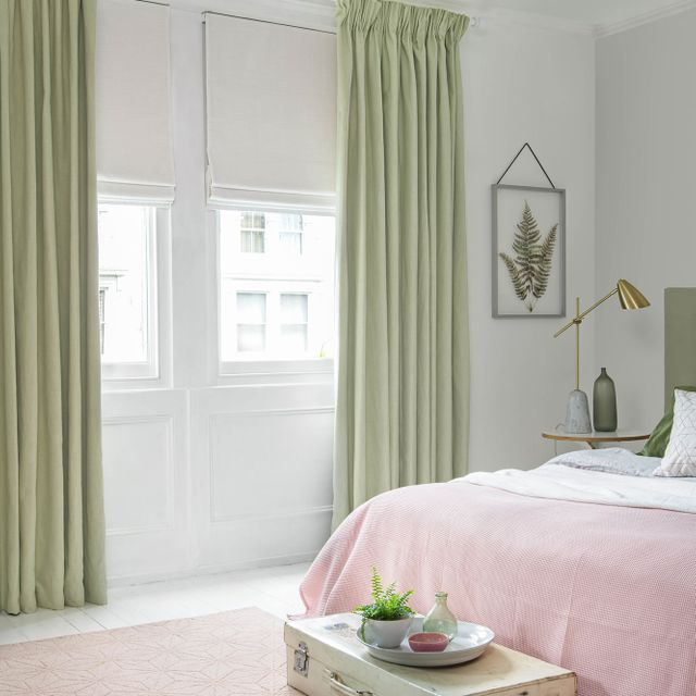 Bailey neo mint curtains islita ice white romans in bedroom