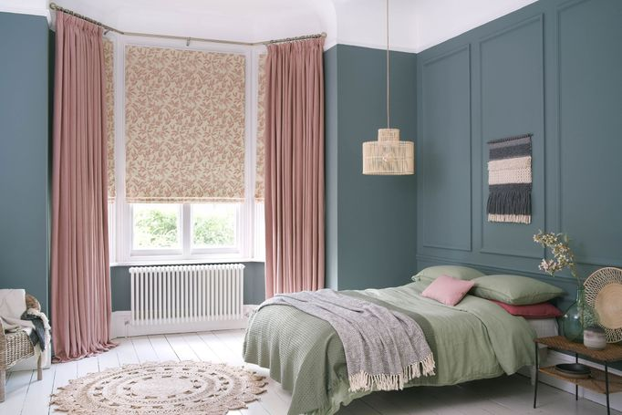 Bailey taffy curtains and delizia blush Romans in bedroom