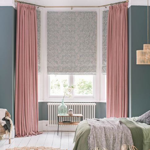 Bailey Taffy curtains and Seraphina Glacier Romans in bedroom