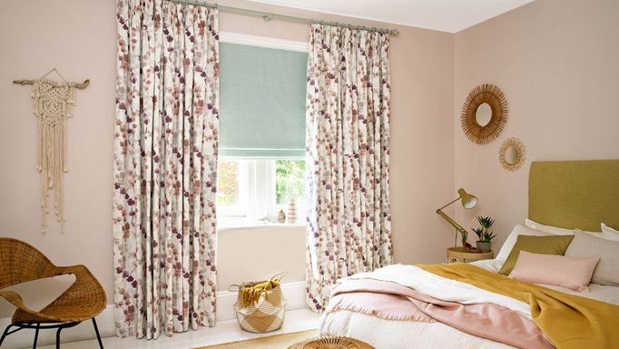 Lilac curtains and Sky Blue romans in bedroom
