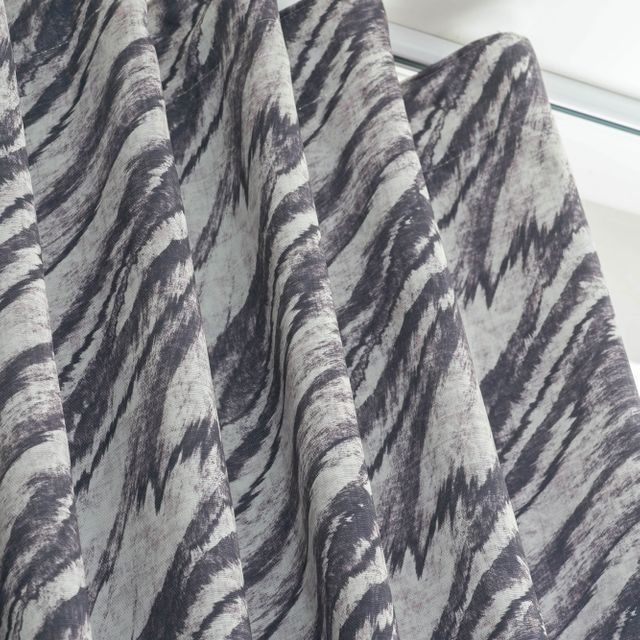Close up of Drift Storm Curtains with wave header style