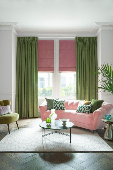 Fascination Juniper curtains and  Malone Velvet Rose romans in living room
