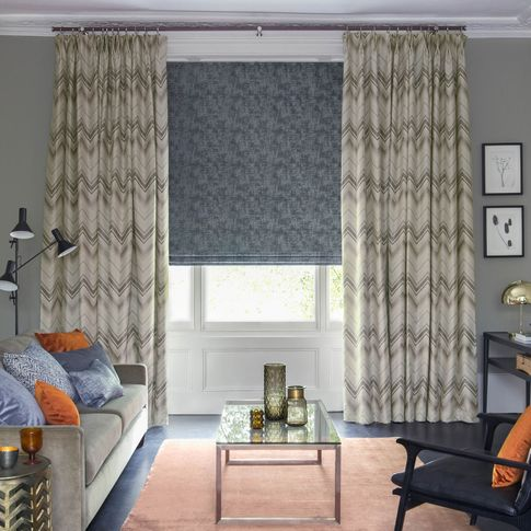 Felix Pumice curtains and Dusk Charcoal romans in living room