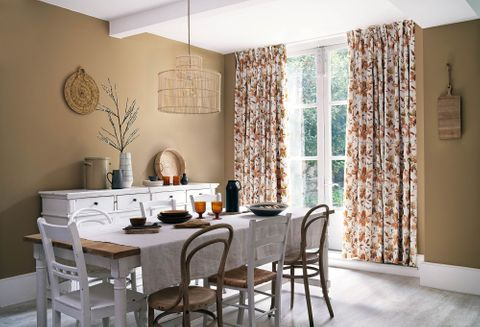 Forenza Apricot curtains in dining room