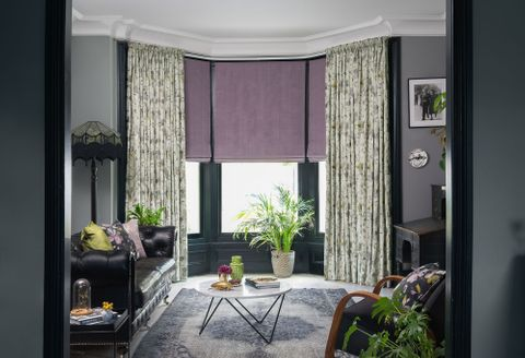 Forenza Sterling curtains Clarence Mauve Romans in living room
