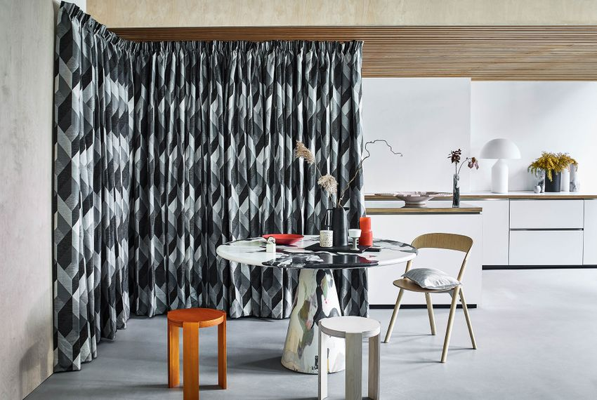 Close up of Fragment Monochrome curtains in kitchen