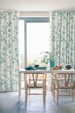 Haze Inkwash curtains in dining room