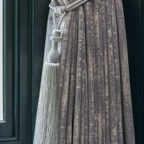 Infinity Lilac Grey curtains with tassel tie-back