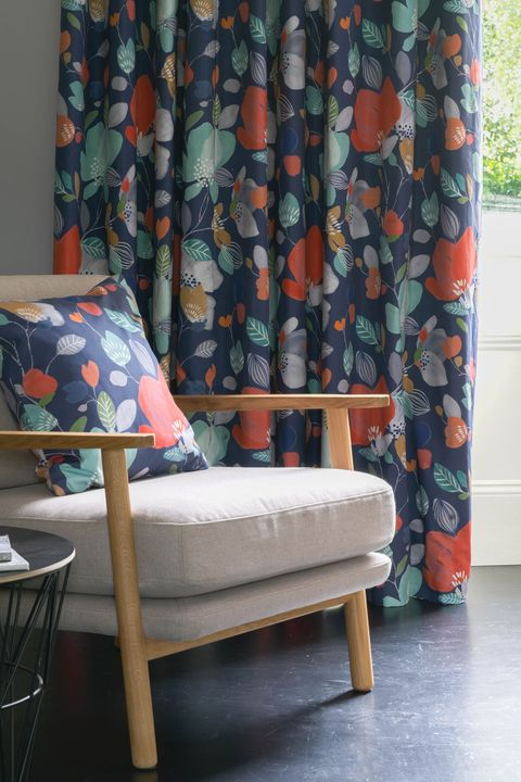 Close up of Iver Twilight curtains in living room