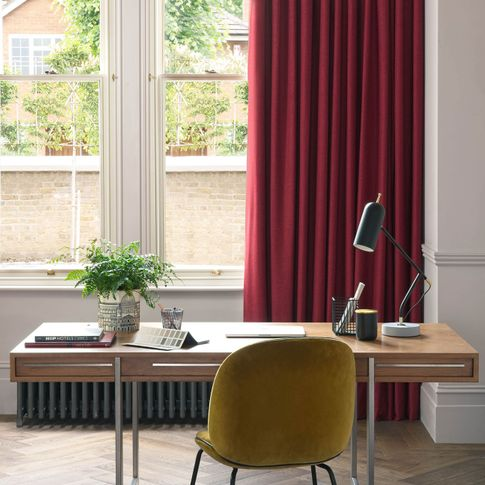 Lindora Ruby curtains in home office