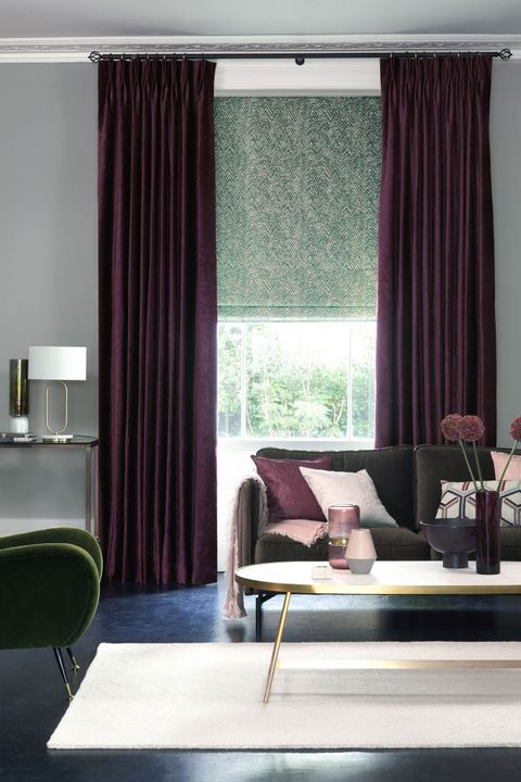 Lyon Merlot curtains and Jagger Everglade romans in living room
